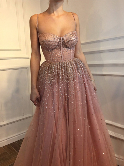 Spaghetti Straps Beading Sequins Prom Dress 2020
