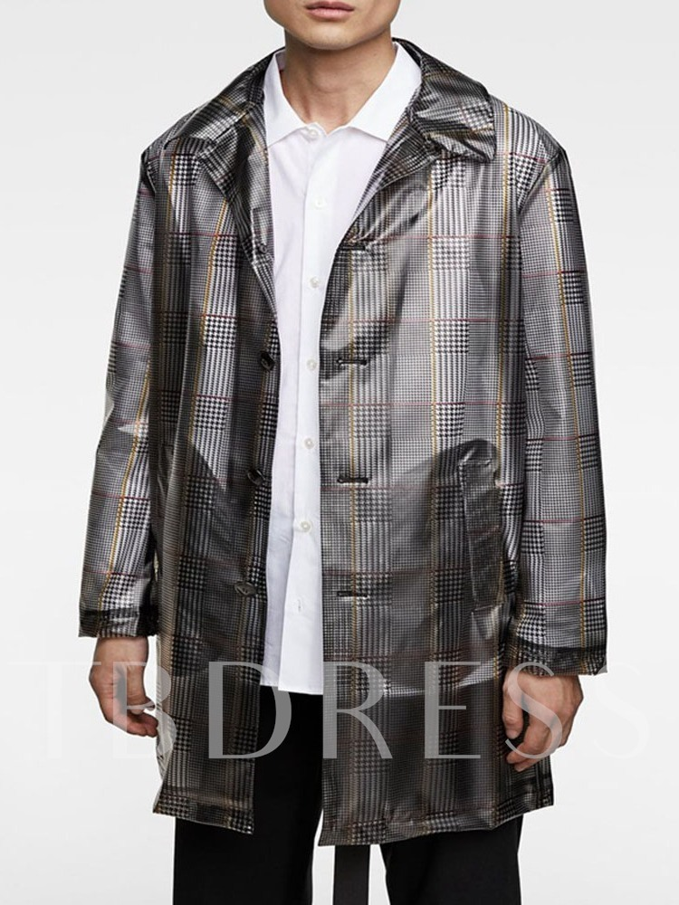 Button Mid-Length Casual Style Men's Trench Coat