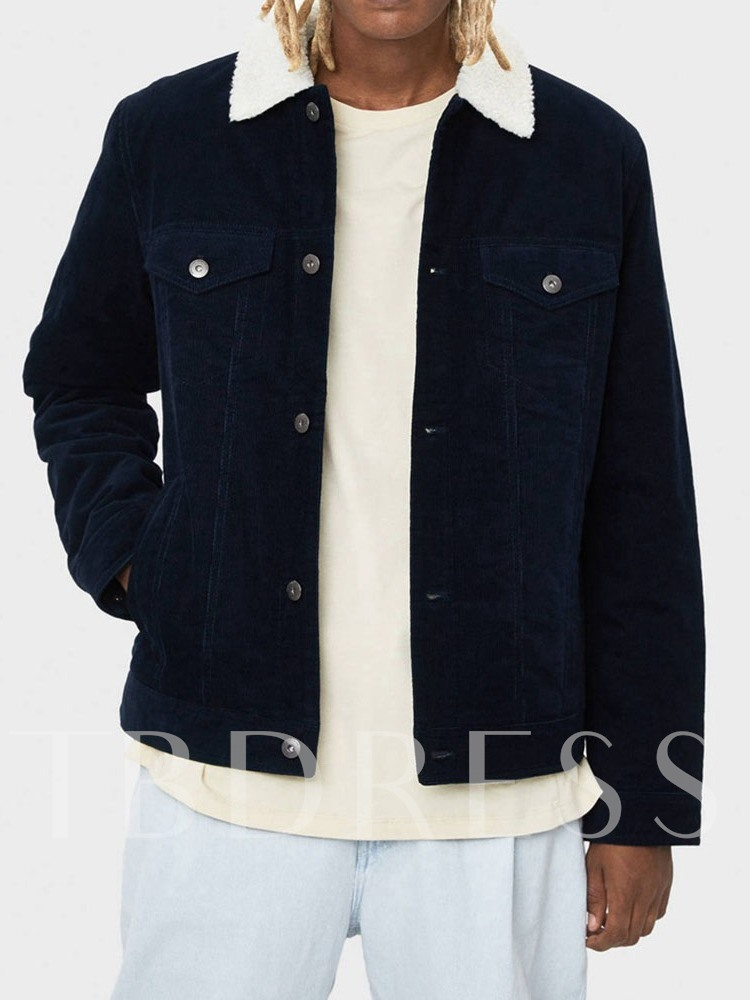 Thick Style Lapel Patchwork Casual Men's Jacket