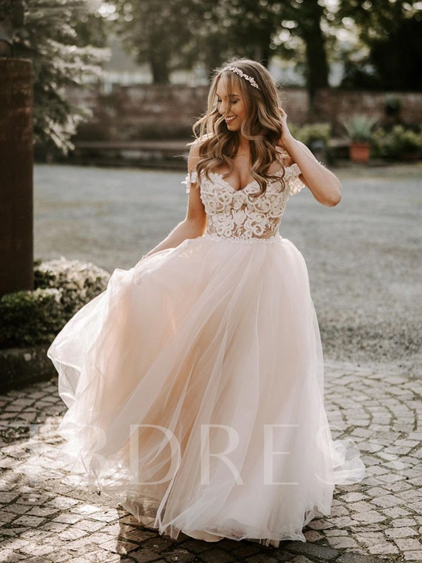 Appliques Beading A-Line Garden Wedding Dress 2020