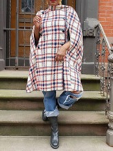 African Fashion Plaid Slim Women's Overcoat