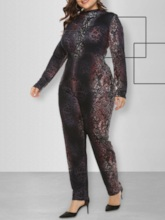 Plus Size Casual Full Length Print Skinny Women's Jumpsuit