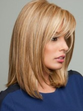 Light Color Bob Styles Shoulder Length Natural Straight Human Hair Wigs Lace Front Cap Wigs 14Inch