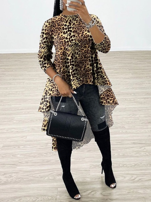 African Fashion Leopard Patchwork Regular Long Sleeve Women's Blouse