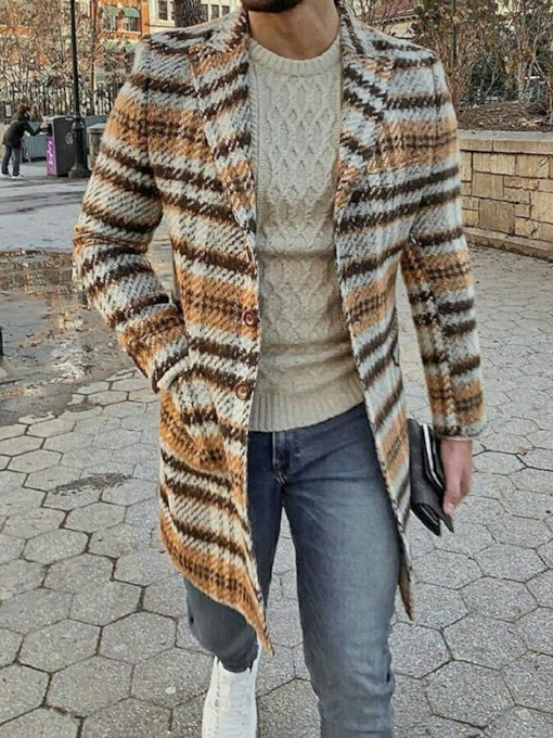 Print Notched Lapel Mid-Length Plaid Men's Coat