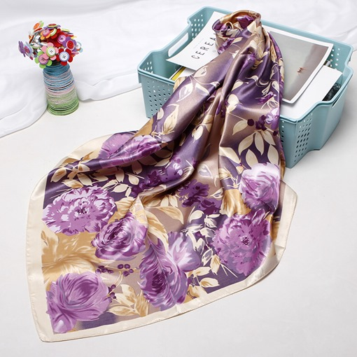 Floral Print Satin Women's Scarves