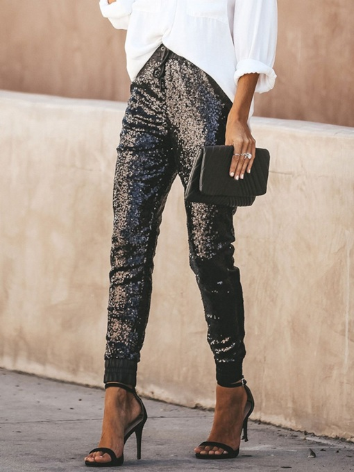 Sequins Slim Plain Pencil Pants Women's Casual Pants