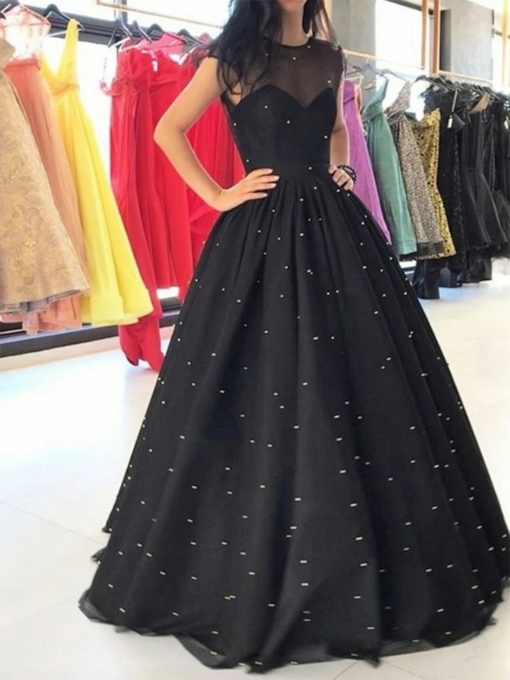 Sheer Neck Beading Cap Sleeves Evening Dress
