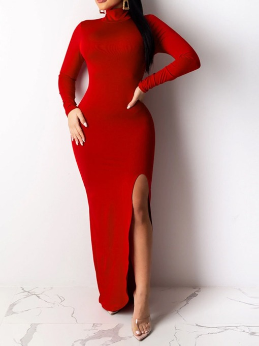 Turtleneck Floor-Length Long Sleeve Split Sexy Women's Dress