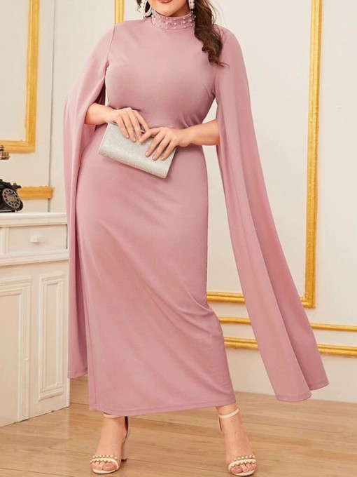 Plus Size Long Sleeve Ankle-Length Stand Collar Split Pullover Women's Dress