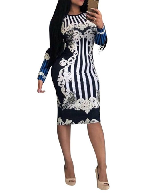 Print Long Sleeve Ankle-Length Round Neck Mid Waist Women's Dress