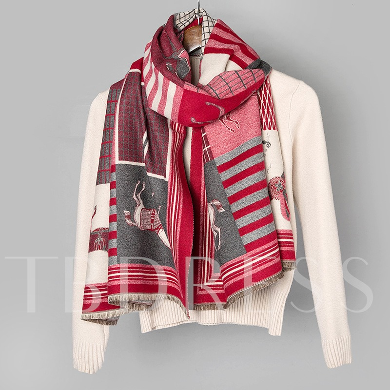 Vintage Imitation Cashmere Print Cartoon Scarves