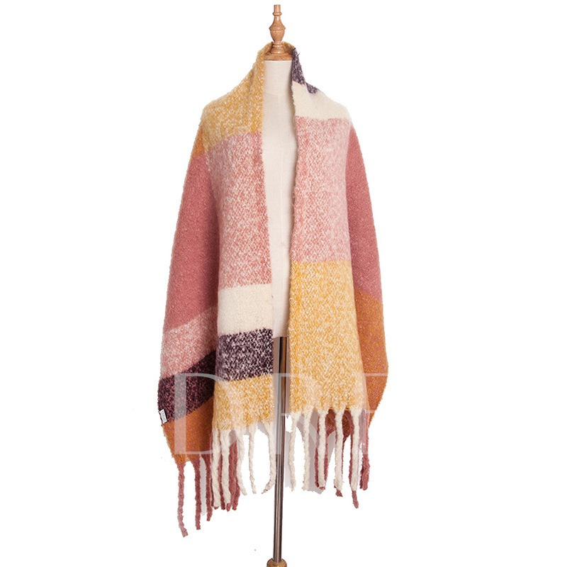 Polyester Plaid Winter Scarves for Women
