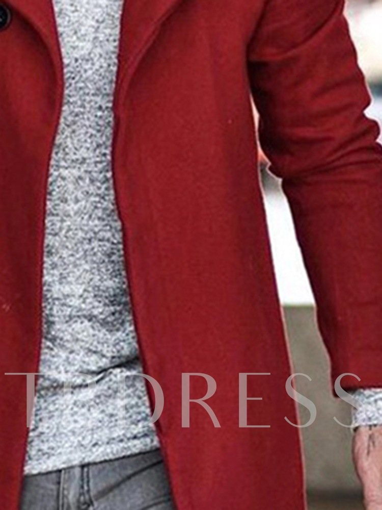 Mid-Length Style Plain Lapel Casual Men's Coat