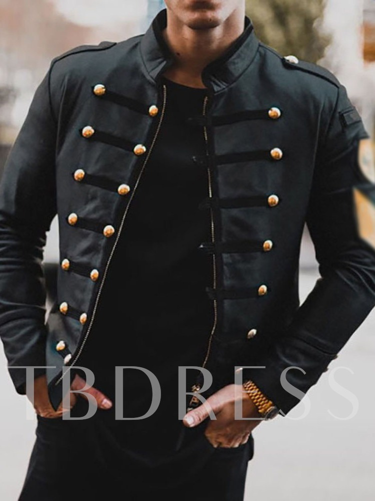 Stand Collar Plain Color Casual Men's Jacket