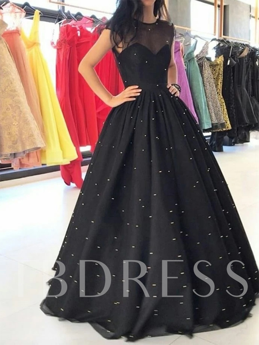Sheer Neck Beading Cap Sleeves Evening Dress 2019