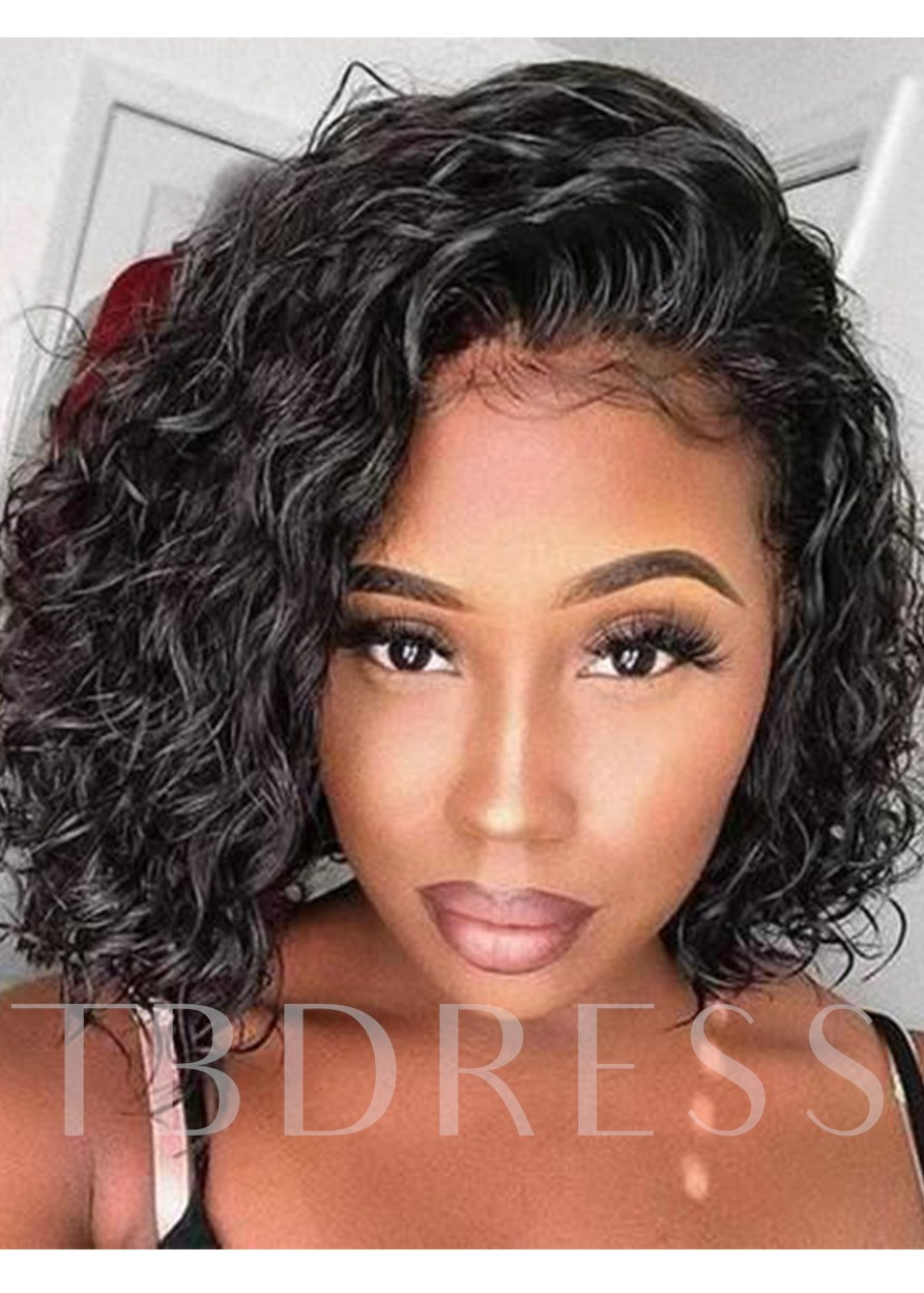Women's Medium Bob Hairstyles Side Part Kinky Curly Human Hair Wigs Afro Lace Front Wigs 14Inch