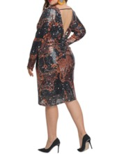 robe femme paillettes col rond manches longues mi-mollet animal