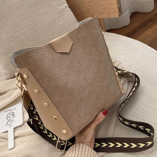 Alligator Rivet PU Rectangle Tote Two Bags Set