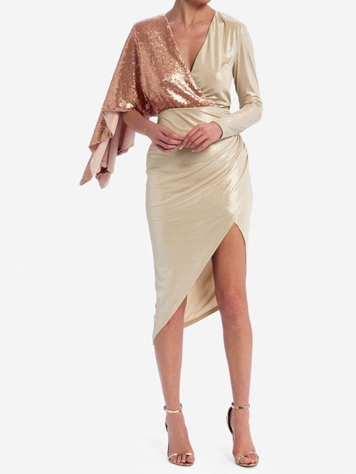 V-Neck Sequins Long Sleeve Mid-Calf Fashion Women's Dress