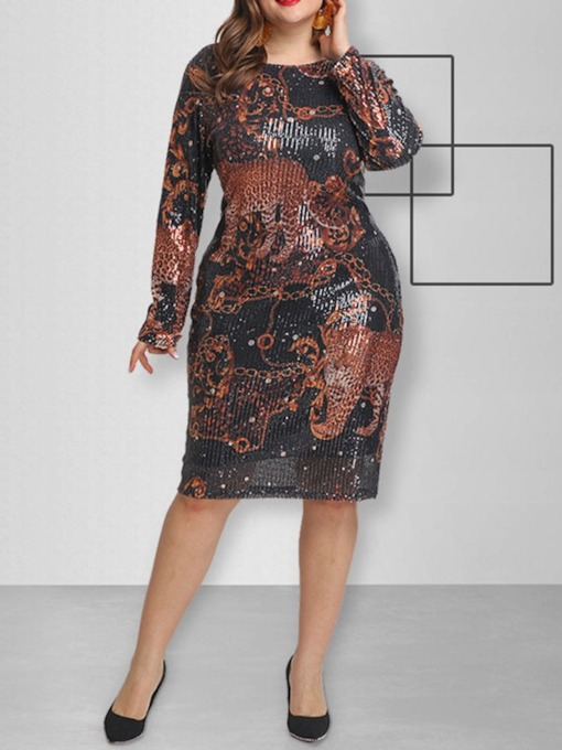 Plus Size Round Neck Sequins Long Sleeve Mid-Calf Animal Women's Dress