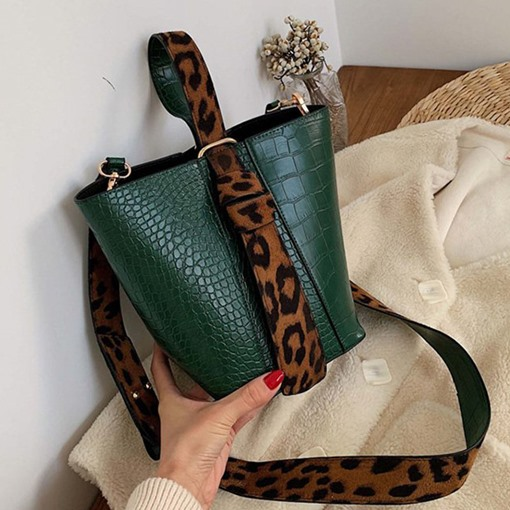 Alligator Embossing PU Rectangle Tote Two Bags Set