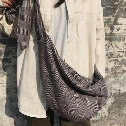 Houndstooth Linen Thread Shoulder Bags
