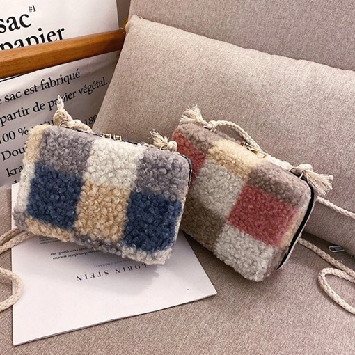 Plaid Wool Blends Patchwork Flap Crossbody Bags