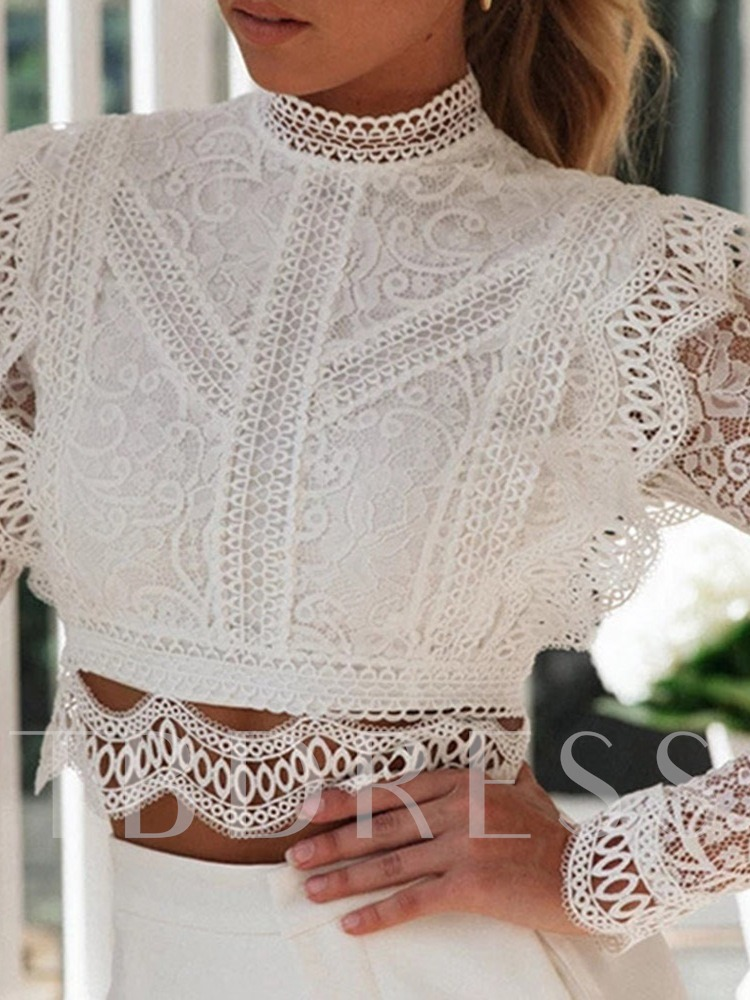 Lace-up Hollow Ladylike Plain Long Sleeve Women's Blouse