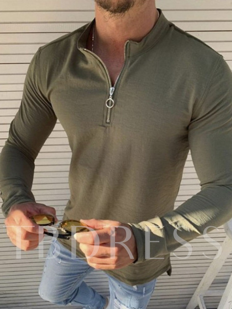 Stand Collar Plain Casual Zipper Style Long Sleeve Men's T-shirt