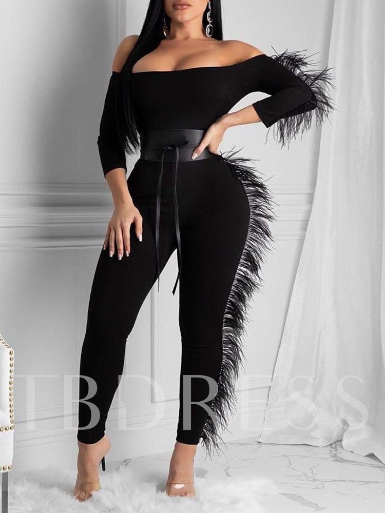 Off Shoulder Full Length Sexy Skinny Women's Jumpsuit