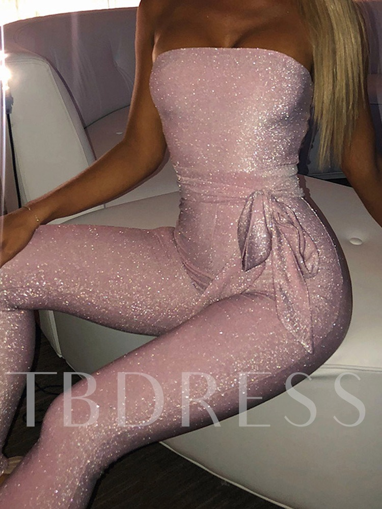 Off Shoulder Lace-Up Full Length Plain Sexy Skinny Women's Jumpsuit