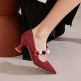 Pointed Toe Appliques Slip-On Color Block Prom Pumps