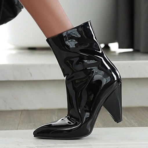 Pointed Toe Plain Side Zipper Metallic Boots