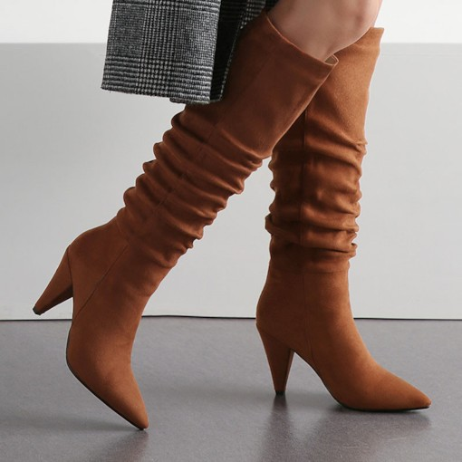 Pointed Toe Plain Slip-On Casual Knee High Boots