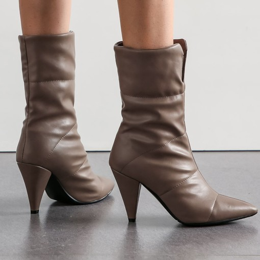 Pointed Toe Plain Slip-On Vintage Mid Calf Boots