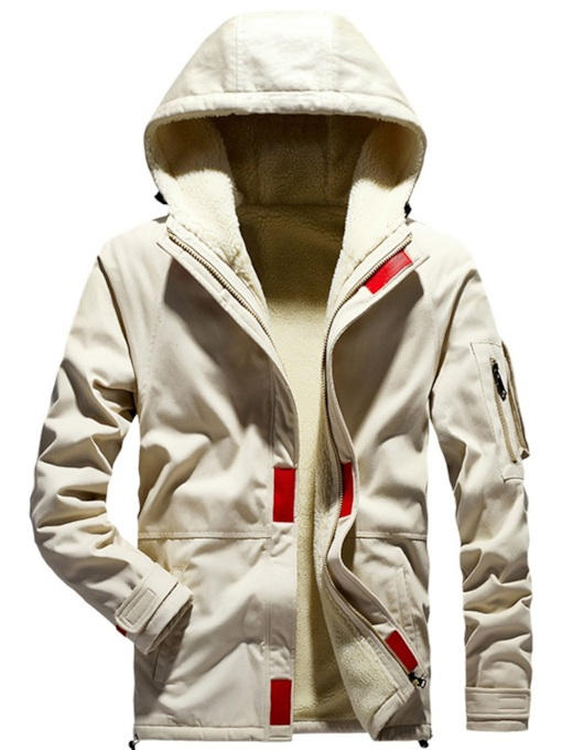 Zipper Artificial Fleece Hooded Casual Men's Jacket