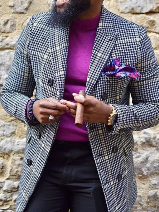 Houndstooth Notched Lapel Slim Casual Men's Leisure Blazers