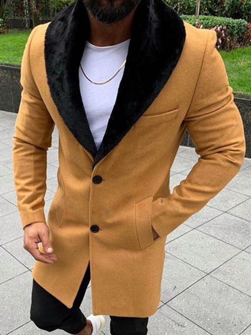 Plain Color Mid-Length Style Casual Men's Coat