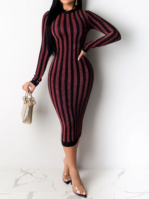 Lurex Mid-Calf Long Sleeve Round Neck Casual Women's Dress