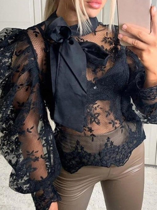 Sexy Lace Up See-Through Long Sleeve Women's Blouse