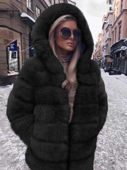 Casual Mid-Length Hooded Thick Women's Faux Fur Overcoat