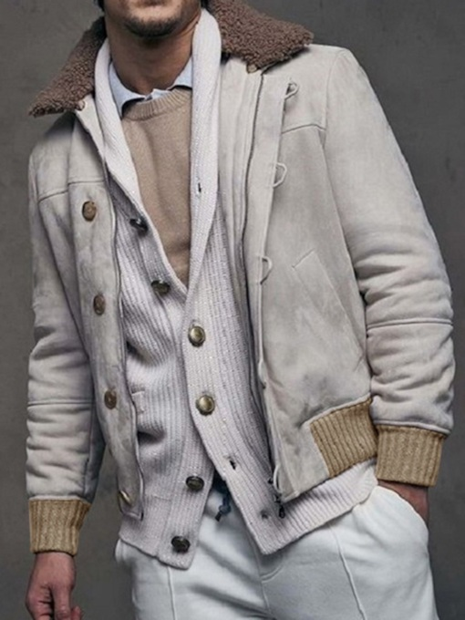 Patchwork Thick Lapel Color Block Single-Breasted Men's Jacket