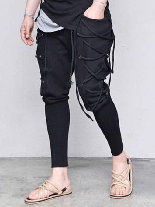 Lace-Up Plain Color Pencil Style Lace-Up Men's Casual Pants