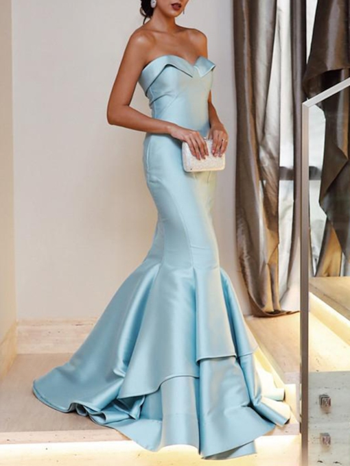 Tiered Court Train Mermaid Evening Dress 2020