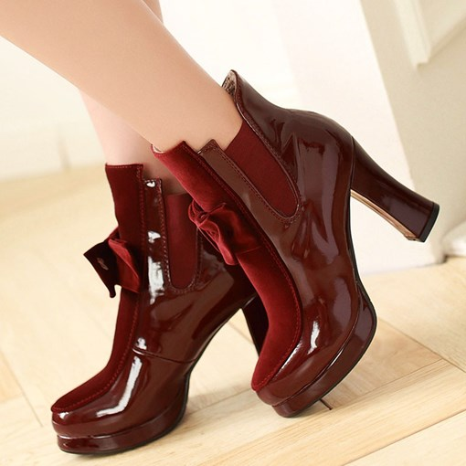 Bow Round Toe Slip-On Ladylike Ankle Boots