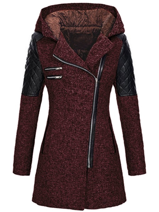 Plus Size Slim Patchwork Zipper Winter Women's Overcoat