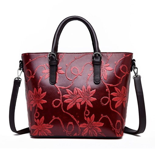 Floral Embossing PU Floral Rectangle Tote Bags