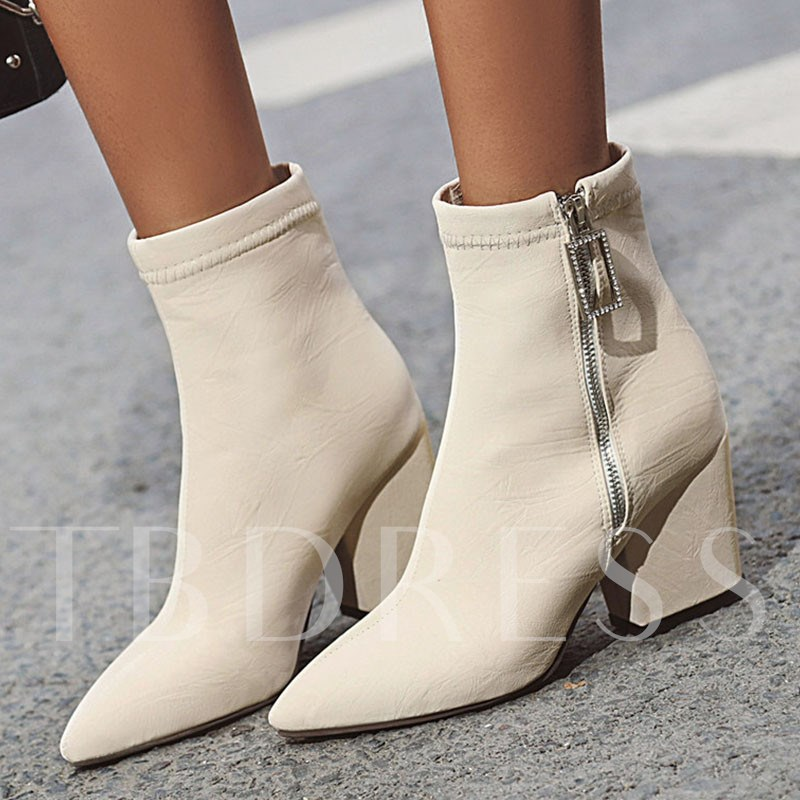 Side Zipper Chunky Heel Pointed Toe Plain Casual Booties