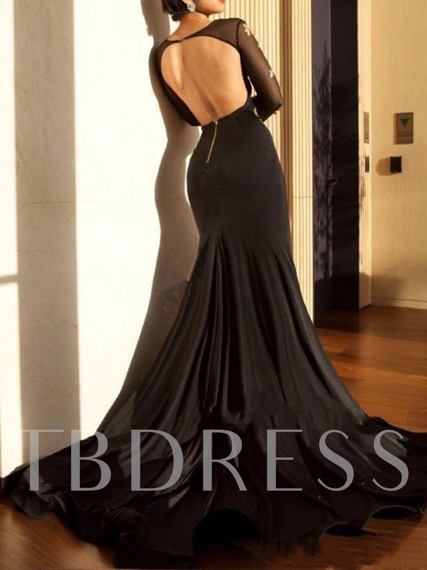 Long Sleeves Appliques Split-Front Backless Evening Dress 2020